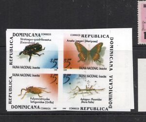 Dominican Republic Insects Butterflies Block of 4 Imperf MNH (5dfl)