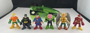 Imaginext DC Superhero Lot 7 Figures And Green Lantern Jet Superman Batman Flash