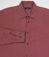 Canali Crimson Red Striped Cotton Dress Shirt Men's Large