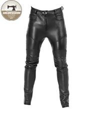 Mens Leather Genuine Sheep Leather Party Pants - Double Closure Leather Pant