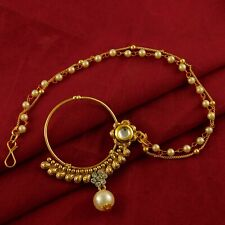 Wedding Bridal Pearl Nath Designer Goldplated Nose Ring Traditional Jewellery