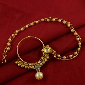 Wedding Bridal Pearl Nath Designer Gold Plated Nose Ring Traditional Jewelry New