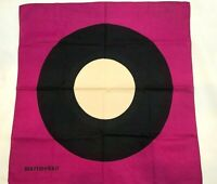 Vintage Marimekko Scarf Pink Black Circles Mod Mid Century Modern MCM Square