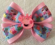 "Girls Hair Bow 4"" Wide Cartoon Pig&Friends Pink Grosgrain Ribbon Ponytail Holder"
