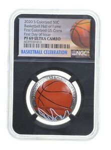 PF69 2020 S Basketball HOF Commemorative Colorized Half Dollar FDOI NGC