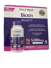 250 Tablets NATROL BIOTIN Fast Dissolve Strawberry Flavor 5000 mcg - Made in USA
