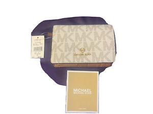 Michael Kors Wallet SlimJet Set CHARM LeatherVanilla BIFOLD Snap Closure NWT $98