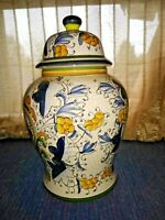 Antique Vintage Chinese Ginger Jar with Lid Ashes Urn GOLD BLUE Heart ❤️ ts17j