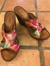 "Women's Beautiful Born Wedge Heels Sandals Colorful Floral Canvas Slide 8 M 4"""