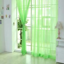 Green Door Window Curtain Floral Tulle Voile Drape Panel Sheer Scarf Valances GN