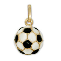 14K Yellow Gold Enamel 3D Soccer Ball Pendant Black And White Charm