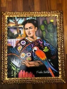 Frida Kahlo oil painting on canvas signed & stamped hand carved FRAMED vtg art