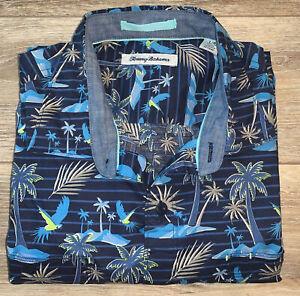 Men's Tommy Bahama Cotton Button-Down Large Shirt Palm Trees & Parrots NWOT