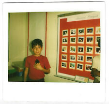 Vintage 80s Kodak Instant PHOTO Little Boy w/ Hamster In Classroom Pics On Wall