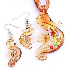 .Silver Foiled Sea Horse Lampwork Murano Glass Beads Pendant Ribbon Necklace Set