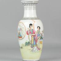 Ca. 1950 Jingdezhen PRoC vase ladies calligraphy