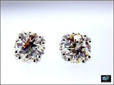 Pair of Old European Old Mine Diamond Stud Earrings 14k W Gold 1.16 ctw Clean!