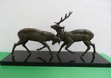 """Schöne Bronzefigur """"2 kämpfende Hirsche"""" von Louis Albert Carvin (1860-1951)"""