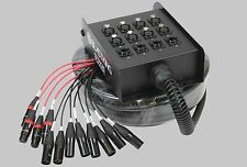 XLR Mic Audio Stage Snake Cable Box 8 Channels x 4 Returns 25' feet 7.62 M