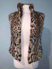 Adrienne Landau Leopard Print Genuine Rabbit Fur Vest Size Small
