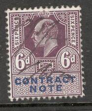 RE Edoardo VII - 6d Viola-nota contrattuale-OTTIMO USATO