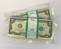 4 New Sequential $2 Dollar Bills USD Uncirculated in Currency Sleeve Lucky Two