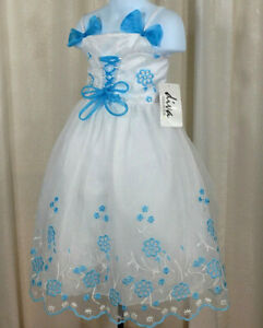 White Flower Girl Wedding Pageant Dress Size 6 Birthday Formal Blue Embroidery