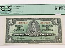 1937 1 Dollar Bank of Canada Coyne-Towers 64 PPQ