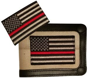 Red Line Flag Firefighters Support Recycled Firehose Wallet With Red Line Patch