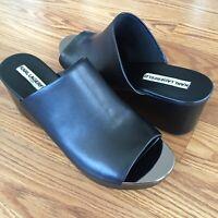 Karl Lagerfeld Womens Lyric Black Leather Platform Slide Wedge Sandals Size 10 M