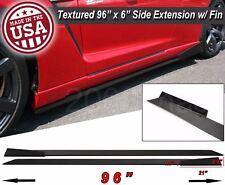 "96"" Extension Flat Bottom Line Lip Side Skirt w/ Fin Diffuser For Mazda Subaru"