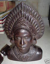 Unique Antique Hand Carved Wood Woman Bust Head LOOK
