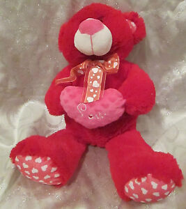 Adorable Large Red Plush Bear with Hearts Stuffed Animal Toy Boys Girls