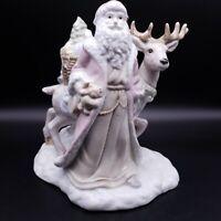 Christmas Santa and Reindeer Glazed Porcelain Figurine