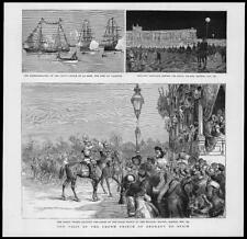 1883 Antique Print - SPAIN MADRID Crown Prince Military Review  (139)