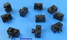 LEGO®  1x2 Grundbausteine mit clip schwarz  / 10 Stück