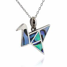 Origami Crane Necklace - 925 Sterling Silver - Genuine Abalone - Birds Gift NEW