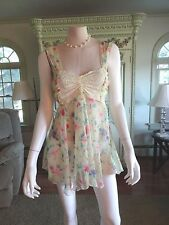 VICTORIA SECRET SEXY NIGHTY,  S, SHEER, LACE TOP,  FLORAL, TIE IN BACK, DEMURE
