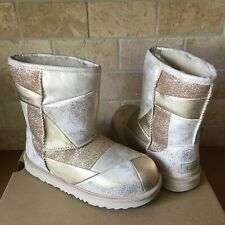Ugg Classic Short Ii Patchwork Gold Sparkle Boots Size 6 Youth Kid = Women 8