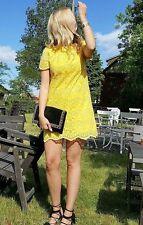 ZARA YELLOW LACE DRESS SHORT MINI SHIFT DRESS SIZE MEDIUM BLOGGERS