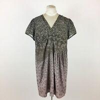 Eshakti Brown Dress Plus Sz 2X Geometric Pleated Short Sleeve V Neck Lined