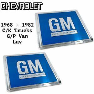 68-82 Door GM Decal BLUE 3M ALL Chevrolet C/K Truck Van PAIR Reproduction C10 K5