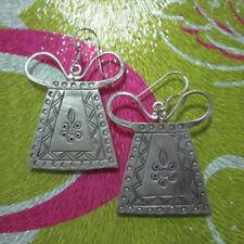 925 Fine Silver Earrings Thailand Jewelry Accessories Tribal Women Pattern Gift