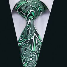 Handsome Men's Green Novelty Printing Tie Silk Necktie Set for Wedding Black