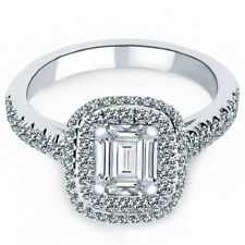 1.05 Carat Emerald Cut Diamond Engagement Ring 18k White Gold