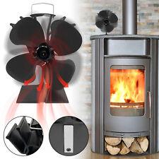 4 Blatt Heizlüfter Stromloser Kaminofen Ventilator Ofenventilator Stove Fan Holz