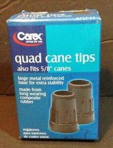 Carex Quad Cane Tips Fits 5/8 In Canes, Metal Reinf. Base Natural Rubber, 1 pair