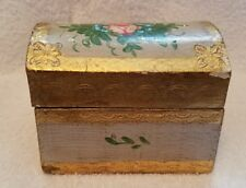 Vintage Hinged Treasure Chest Wooden Box Made in Italy - Gold with Flowers