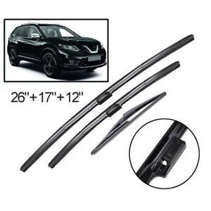 "3Pcs Front Rear Wiper Blades Set For Nissan X-Trail T32 2013-2019 26""17""12"""