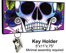 KEY HANGER HOLDER RACK - SUGAR SKULL 5 Dia de los Muertos Halloween Horror